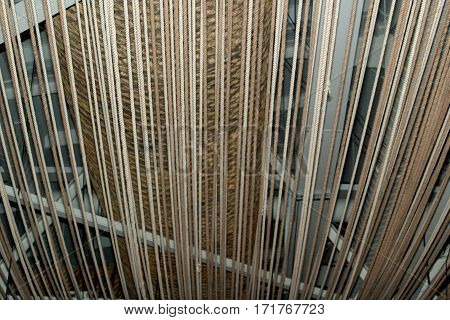 Background in the form of a rope decorative ceiling