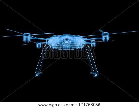 3d rendering x ray drone isolated on black