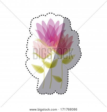 sticker faded set collection bud flower floral icon design vector illustration