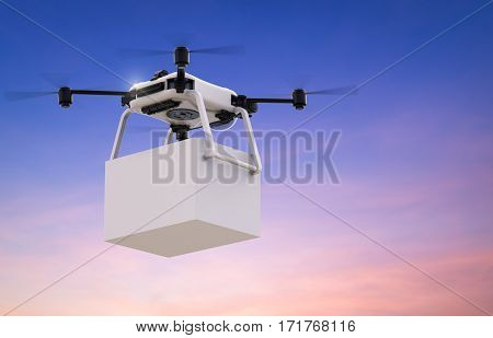 3d rendering delivery drone with white box