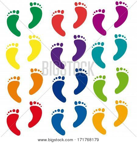 Vector abstract foot walk background, isolated illustration
