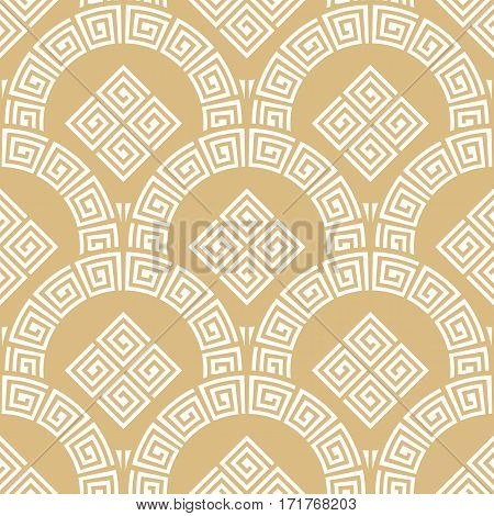 Rising sun seamless pattern. Stylish textile print with greek design. Greece meander fabric background.