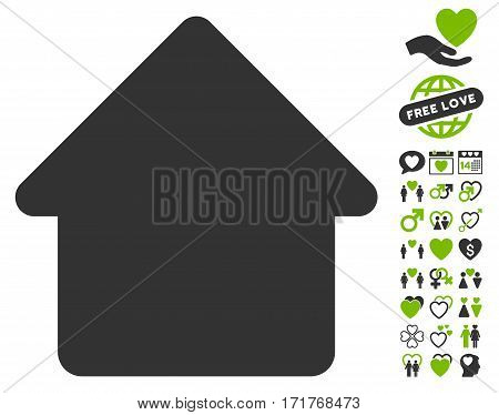 Cabin pictograph with bonus amour clip art. Vector illustration style is flat iconic eco green and gray symbols on white background.