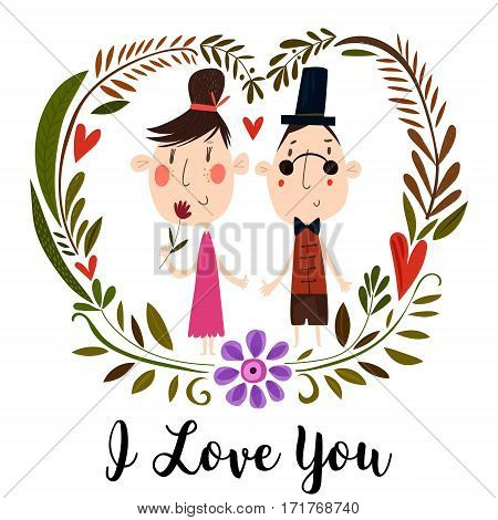 I Love You - Romantic Vector Typography. . Hand Drawn Illustration For Postcard, Save The Date Card,