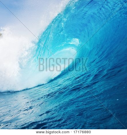 Powerful Blue Ocean Wave