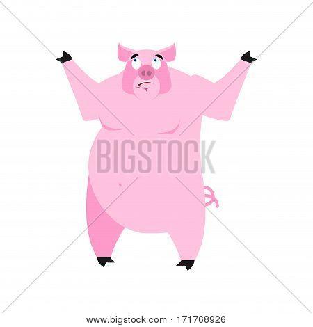 Pig Surprised Emoji. Piggy Astonished Emotion On White Background. Farm Animal