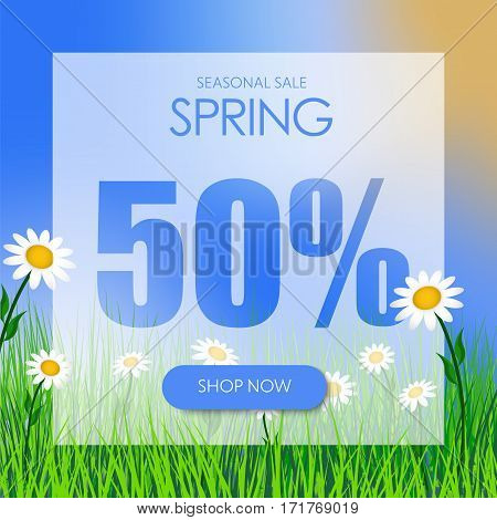 Design Square Banner For The Spring Sale At A Discount