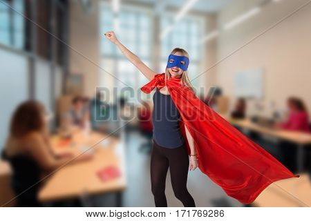Superwoman In Superhero Costume Raised Her Hands Up.