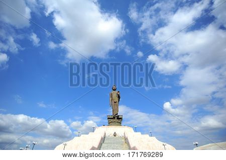 Image Of Buddha Stand Is The Sign Symbol Peace Buddhism And Religion Of Thailand On Blue Sky Cloud B