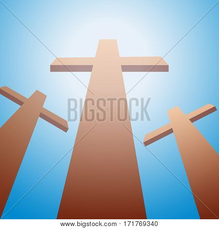 Vector three crosses. Christ passion and Easter Background