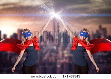 Smiling Two Woman In Superhero Costume.