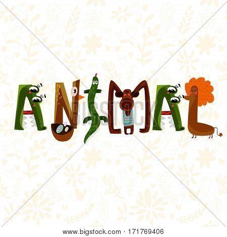 Hand-sketched Typographic Element. Animal.text For T-shirt, Fashion, Prints - Stock Vector