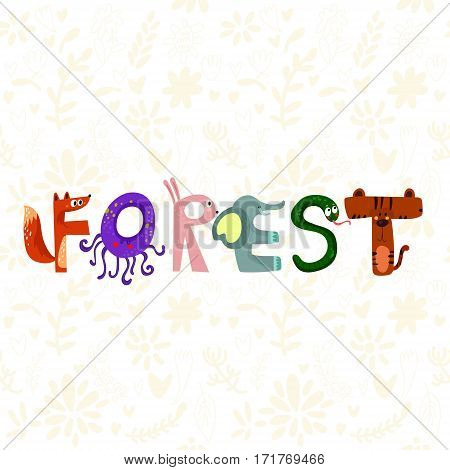 Hand-sketched Typographic Element. Forest.text For T-shirt, Fashion, Prints - Stock Vector