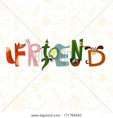 Hand-sketched Typographic Element. Friend.text For T-shirt, Fashion, Prints - Stock Vector