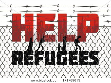 The propaganda poster about refugees and illegal migrants. Vector illustration.