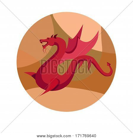 Chinese zodiac sign Dragon. Symbol of Eastern Asian horoscope or lunar calendar element. Vector round icon illustration