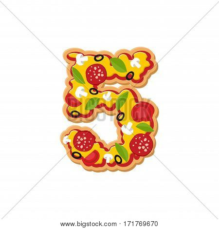 Number 5 Pizza Font. Italian Meal Alphabet Numeral Five. Lettring Fast Food