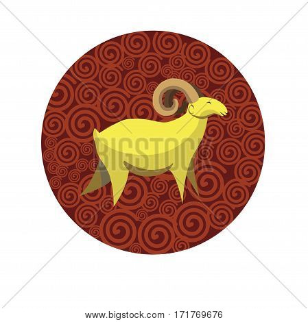 Chinese zodiac sign Goat. Symbol of Eastern Asian horoscope or lunar calendar element. Vector round icon illustration