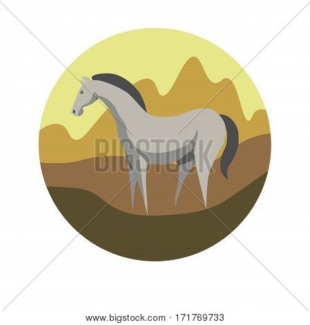 Chinese zodiac sign Horse. Symbol of Eastern Asian horoscope or lunar calendar element. Vector round icon illustration