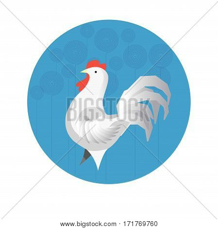 Chinese zodiac sign Rooster. Symbol of Eastern Asian horoscope or lunar calendar element. Vector round icon illustration