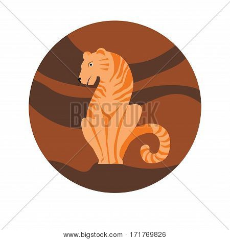 Chinese zodiac sign Tiger. Symbol of Eastern Asian horoscope or lunar calendar element. Vector round icon illustration