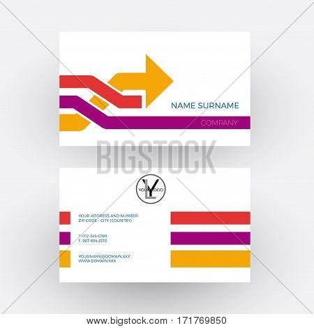 Vector abstract arrow concept of overtaking. Business card