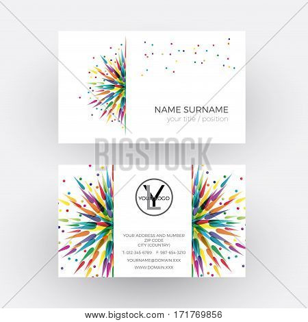 Vector abstract colored splashes. Graphic designer and painter concept. Business card