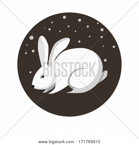 Chinese zodiac sign Rabbit. Symbol of Eastern Asian horoscope or lunar calendar element. Vector round icon illustration