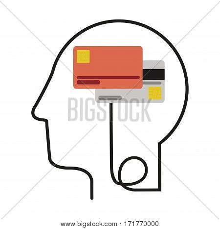silhouette profile human head with debit and credit cards vector illustration