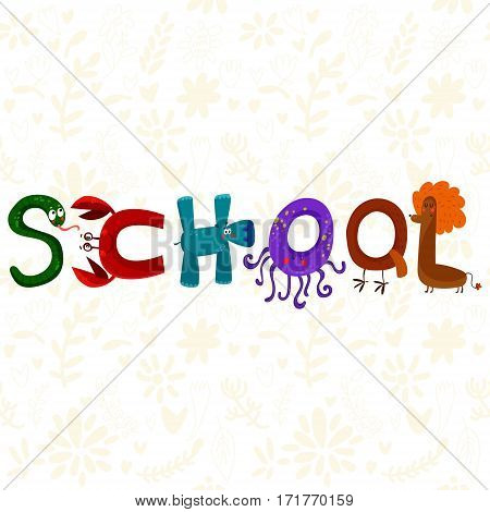 Hand-sketched Typographic Element.school.text For T-shirt, Fashion, Prints - Stock Vector