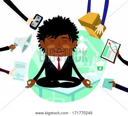 Funny Confident black business man wearing suit sitting calm on table and meditating at his office. Multitasking hard working day. Flat style design set. Vector Illustration.
