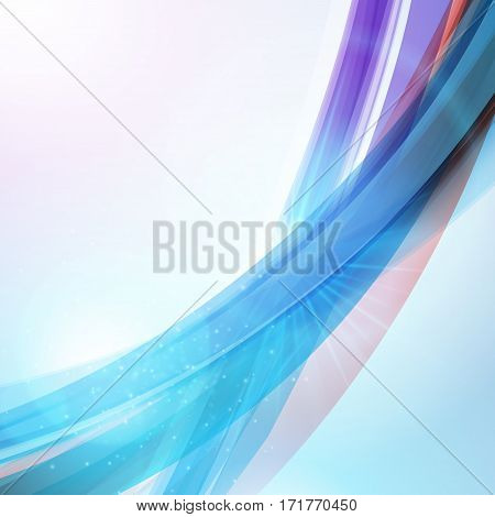 Abstract Blue Wave Background For Poster, Flyer, Bunner Templates. Vector Illustration. Wave Backgro