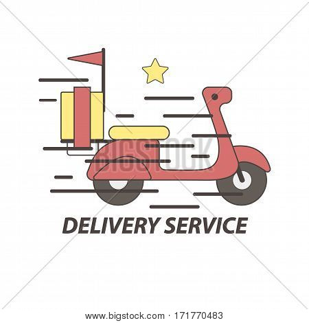 Express delivery service logo template of scooter or vector bike. Online shop order for fast food, sushi and pizza or courier post mail deliver service