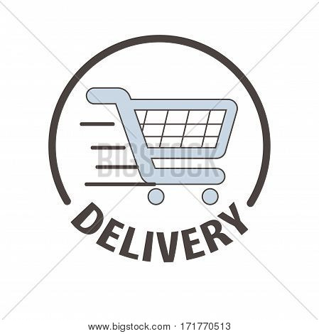 Shopping cart logo template for express delivery service. Supermarket store trolley carriage vector symbol for online shop or internet order