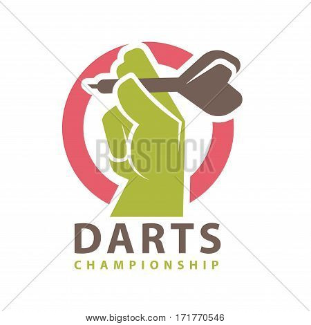Darts championship logo template. Hand and arrow aiming to bullseye target on dartboard. Vector icon for dart sport game contest
