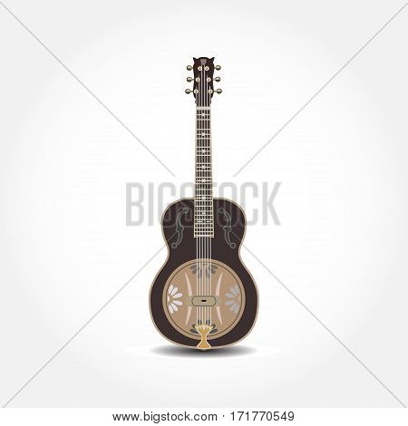Vector illustration of dobro american resonator guitar isolated on white background. Resophonic guitar.