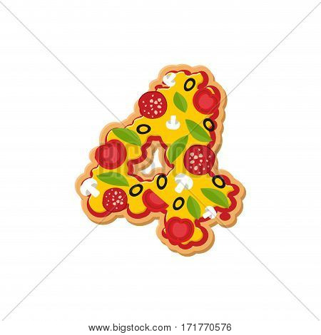 Number 4 Pizza Font. Italian Meal Alphabet Numeral Four. Lettring Fast Food