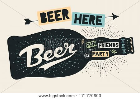 Bottle of beer with hand drawn lettering and text Beer Here for sign of Oktoberfest Beer Festival. Vintage drawing for bar, pub, beer themes. Black bottle sign with lettering. Vector Illustration