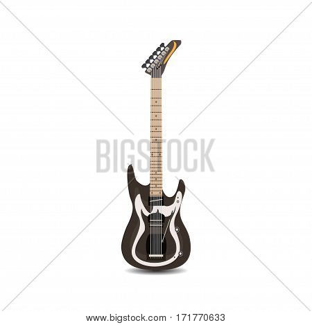 Electric Guitar. Vector illustration of solo electric guitar isolated on white background.