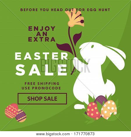 Easter sale poster for online shopping delivery or internet store promo discount web page. Vector eggs and bunny rabbit holding spring flowers