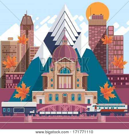 Canada flat icons design travel concept. Facades of traditional houses.Vector illustration