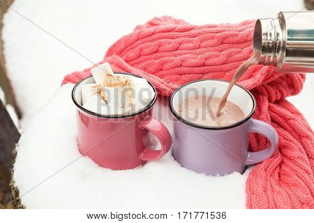 Pouring Hot Chocolate In The Cup