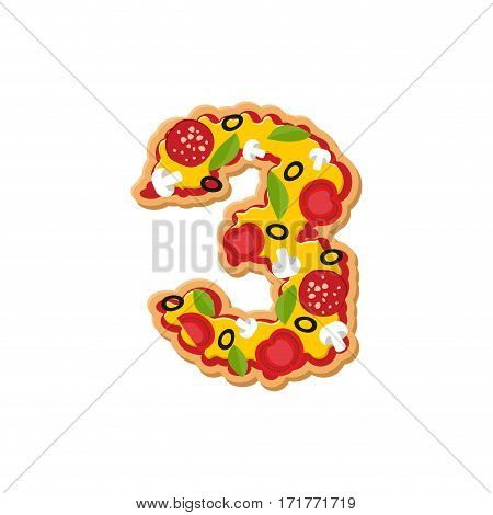 Number 3 Pizza Font. Italian Meal Alphabet Numeral Three. Lettring Fast Food