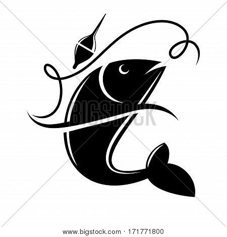 Fishing icon of fish on hook for fisherman club or fishery sea sport adventure logo template. Fishery rod with big catch of tuna or trout. Vector illustration