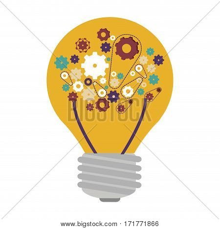 light bulb with filaments and gear wheel collection vector illustration