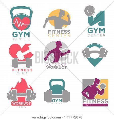 Gym and fitness club or workout sport center logo templates set. Vector symbols of muscle man with barbell and dumbbell running on treadmill or outdoors with heart pulse