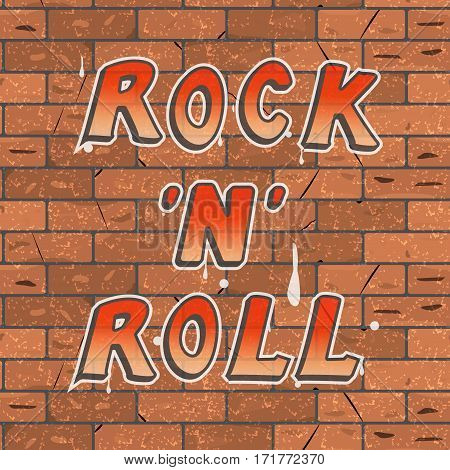 Vector illustration of a colorful red and yellow lettering on a brown brick wall rock 'n' roll.