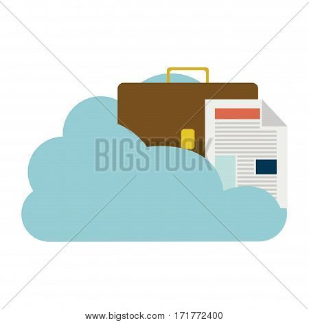 cloud in cumulus shape with briefcase and document with fold vector illustration