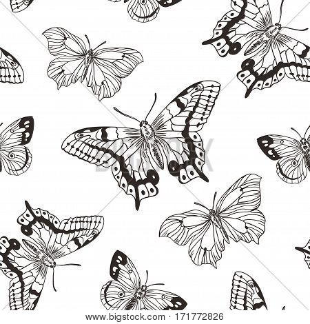 Beautiful seamless background of butterflies black and white colors. Vector illustration. Simple stylish hand drawn design for fabric or wrap paper.