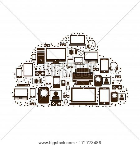 pattern set collection with tech device vector illustration